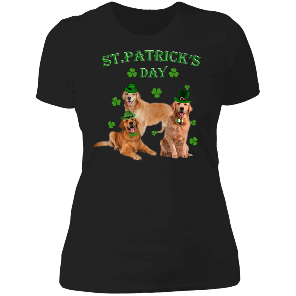 St Patricks Day My Golden Retriever Is My Lucky Charm Ladies T-Shirt