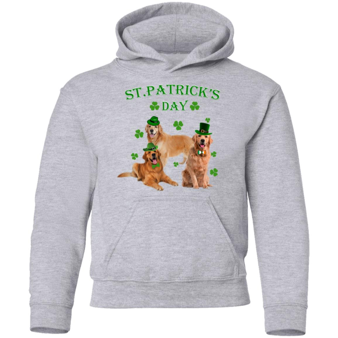 St Patricks Day My Golden Retriever Is My Lucky Charm Youth Pullover Hoodie